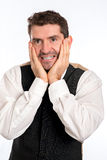 Businessman in excitement Royalty Free Stock Photo