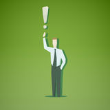 Businessman with exclamation mark Royalty Free Stock Images