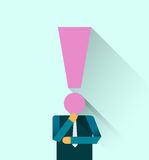 Businessman with exclamation mark Head. Long shadow design Royalty Free Stock Photos