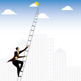 Businessman or executive climbing stairs to sky - vector graphic Stock Image