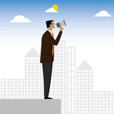 Businessman or executive making an announcement - vector graphic Royalty Free Stock Image