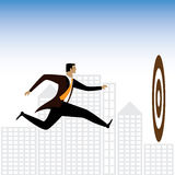 Businessman or executive trying to achieve targets - vector grap Royalty Free Stock Images