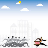 Businessman or executives having a race - vector graphic. This also represents winning strategy, business success, motivation and inspiration, rat race Royalty Free Stock Image