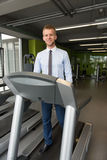 Businessman Exercising In Gym Stock Images