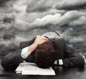 Businessman exhausted Stock Images