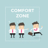 Businessman exit from comfort zone. Vector illustration stock illustration
