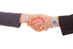 Businessman with expensive watch and business woman shaking hand Stock Photo