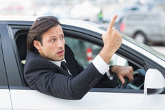Businessman experiencing road rage Stock Photos