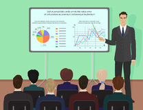 Businessman expert giving presentation seminar training. Conference with people concept. Royalty Free Stock Photos