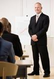 Businessman explaining analysis chart Stock Photos