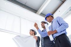 Businessman explaining a blueprint to his colleagues Stock Photos