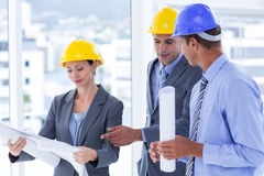 Businessman explaining a blueprint to his colleagues Stock Photography