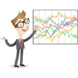 Businessman explaining complicated statistics. Vector illustration of a cartoon businessman explaining complicated statistics Royalty Free Stock Photography