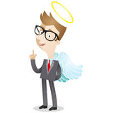 Businessman with explaining gesture, angels wings  Royalty Free Stock Photos