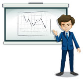 A businessman explaining the graph in the bulletin board Stock Photo