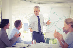 Businessman explaining the graph on the whiteboard Royalty Free Stock Images
