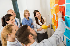 Businessman Explaining Labels On Whiteboard. To colleagues in meeting Stock Photo