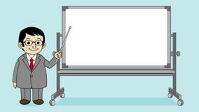 Businessman explaining with Whiteboard stock illustration