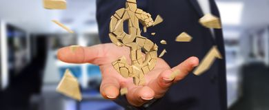 Businessman with exploding dollar currency 3D rendering. Businessman on blurred background with exploding dollar currency 3D rendering Stock Photography