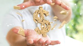 Businessman with exploding dollar currency 3D rendering. Businessman on blurred background with exploding dollar currency 3D rendering Royalty Free Stock Photography