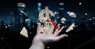 Businessman with exploding dollar currency 3D rendering. Businessman on blurred background with exploding dollar currency 3D rendering Stock Photo