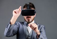 Businessman explore virtual reality. Technology for business. Digital surface interaction. Business man virtual reality royalty free stock image