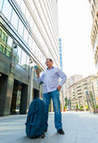 Businessman exploring the city guide Royalty Free Stock Images