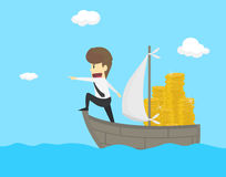 Businessman exploring the sea adventure to find the treasure.  Royalty Free Stock Image