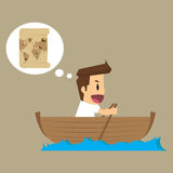 Businessman exploring the sea adventure to find the treasure Royalty Free Stock Image