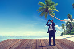 Businessman Exploring Surveillance Journey Leadership Concept Royalty Free Stock Image