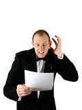 A businessman expressing shock royalty free stock photo