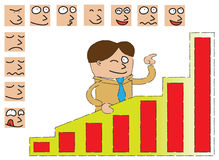 Businessman with expressions. A businessman standing behind a graphic analysis board pointing the highest chart ,and surrounded by face expressions. Help him to Stock Photo