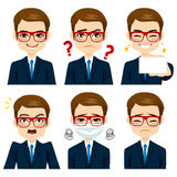 Businessman Expressions Set Royalty Free Stock Image