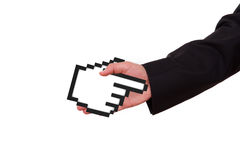 Businessman Extends Hand with Mouse Cursor. Businessman extends hand to shake with black pixel mouse cursor, pointer, isolated on white background Stock Photography