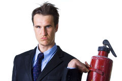 Businessman with extinguisher on white Royalty Free Stock Photo