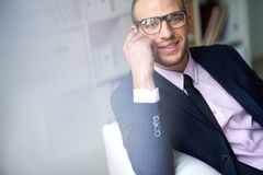 Businessman in eyeglasses Stock Photos
