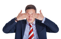 Businessman with eyes closed Royalty Free Stock Photos
