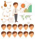 Businessman. Face and body elements Stock Images