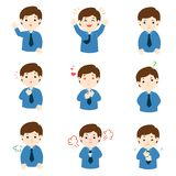 Businessman with different emotions cartoon vector. stock illustration
