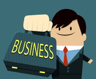 Businessman face smile and Showing Bag-text. Businessman face smile and Showing Bag - text Royalty Free Stock Image