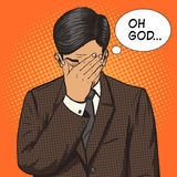 Businessman with facepalm gesture pop art vector Royalty Free Stock Photo