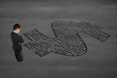 Businessman facing money symbol maze Royalty Free Stock Photo