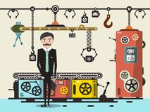 Businessman - Factory Owner with Line of Production. Vector Flat Design Illustration Royalty Free Illustration