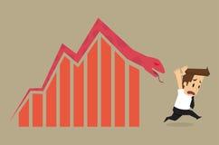 Businessman fail. arrow snake Royalty Free Stock Photography