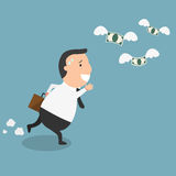 Businessman fail and money flying. The concept of the man being broke,he very needs money.illustration Stock Image
