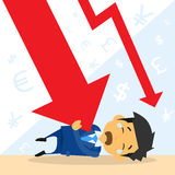 Businessman Fall Down Red Arrow Graph Financial. Crisis Flat Vector Illustration Royalty Free Stock Image