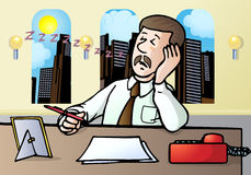 Businessman fall a sleep. Illustration of a tired businessman fall a sleep over work place Stock Images