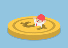Businessman falling into dollar hole. Financial crisis, bankruptcy concept Stock Photography