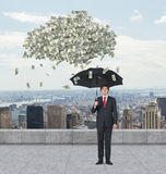 Businessman and falling dollar Royalty Free Stock Photo