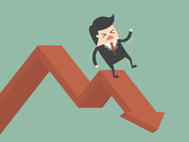 Businessman On Falling Down Chart. Business Concept Cartoon Illustration Royalty Free Stock Image